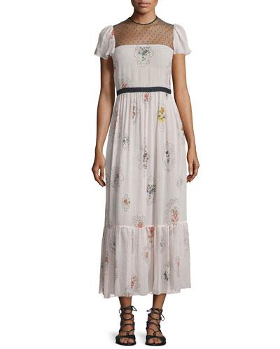 Short-Sleeve Framed-Floral Maxi Dress, Light Pink
