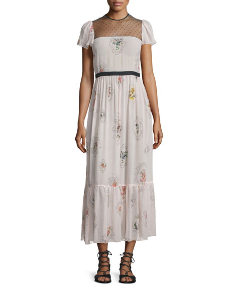 RED Valentino Short-Sleeve Framed-Floral Maxi Dress, Light Pink
