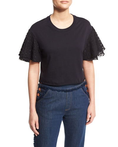 Boxy Cropped Jersey Tee with Embellished Sleeves, Dark Night