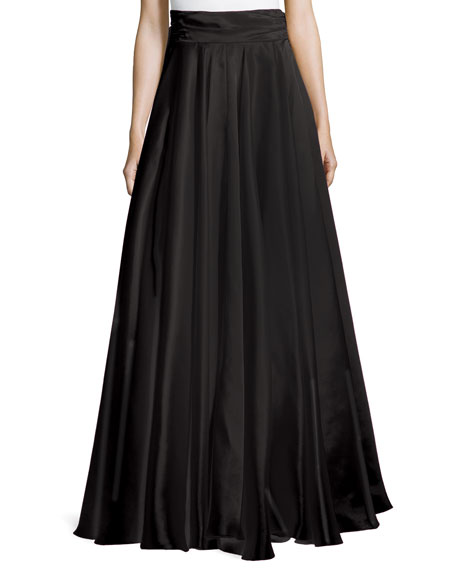 Milly Bow-Back Silk Maxi Skirt