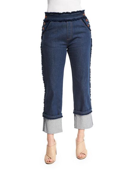 See by Chloe Cuffed Raw-Edge Stretch Jeans, Dark