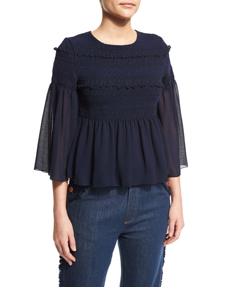 See by Chloe3/4-Sleeve Embroidered Peplum Top, Dark Navy