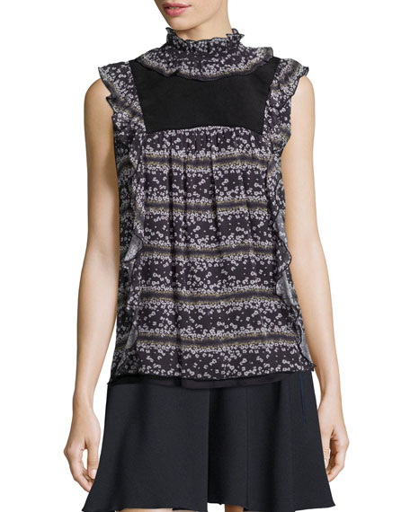 Sleeveless Floral Ruffle-Trim Top, Black