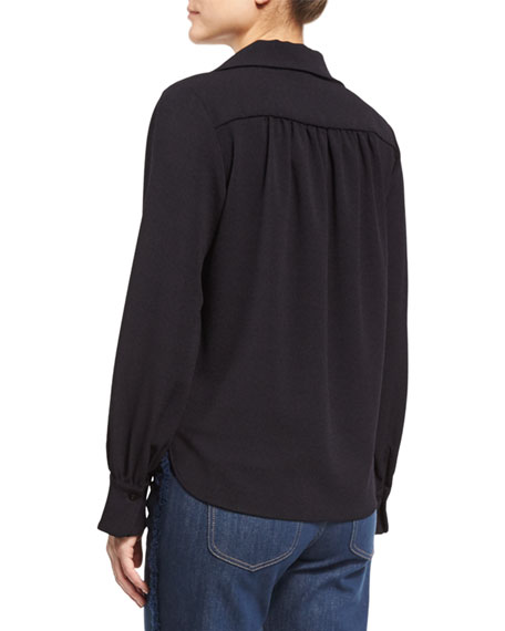 Long-Sleeve Tie-Front Blouse, Dark Night