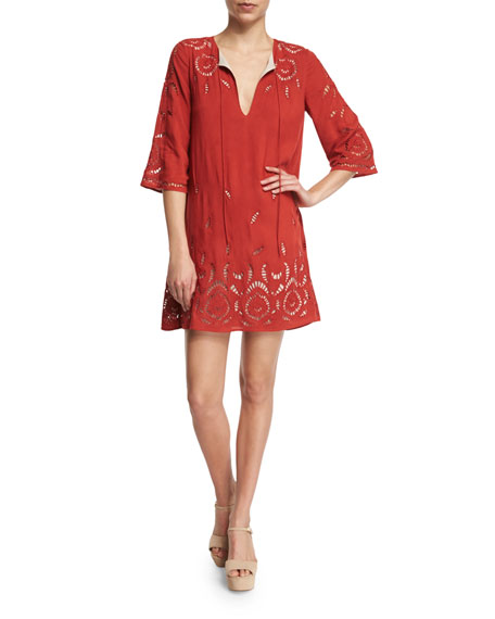 Morgana Embroidered Mini Dress, Red