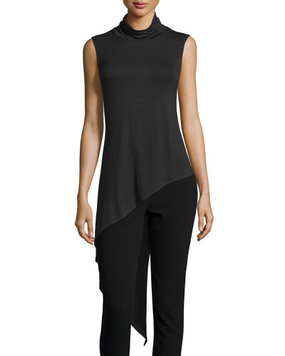 Sleeveless Asymmetric Turtleneck Top, Black