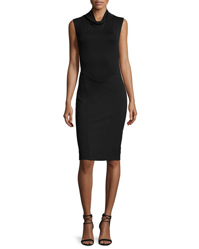 Sleeveless Turtleneck Ponte-Modal Blend Dress, Black