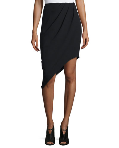 Marigold Asymmetric Silk Skirt, Black