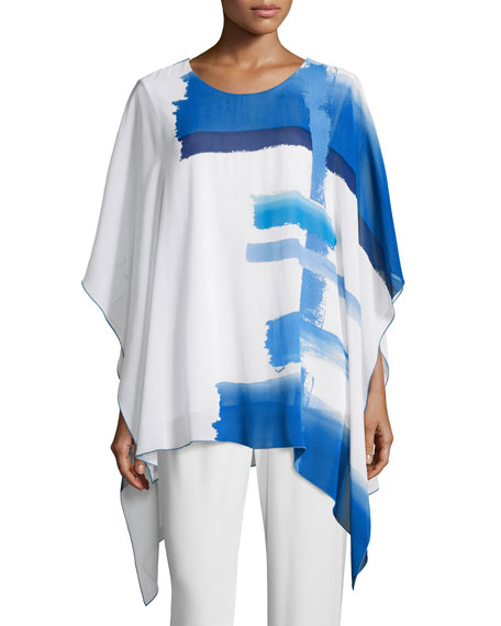 Caroline Rose Brushstroke Blues 3/4-Sleeve Caftan, Blue/White,