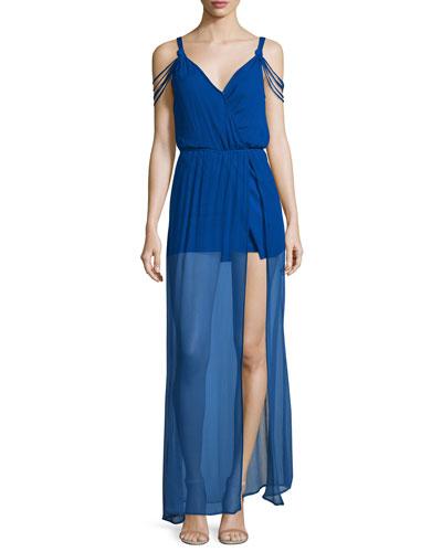 The Goddess Sheer-Hem Silk Maxi Dress, Royal
