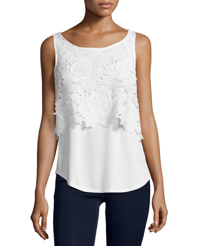 Crescent Sleeveless Floral-Overlay Top,  Natural