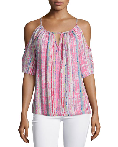 Inka Cold-Shoulder Printed Top, Pink