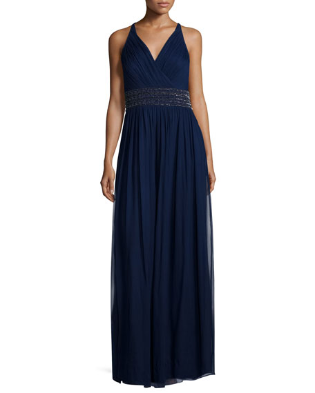 Aidan Mattox Sleeveless Beaded-Waist Mesh Gown