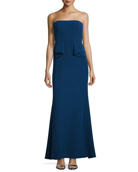 Strapless Crepe Peplum Gown , Navy