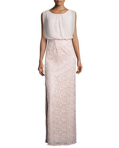 Sleeveless Combo Column Gown, Petal