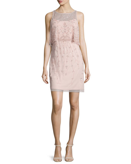 Aidan Mattox Sleeveless Beaded Popover Cocktail Dress