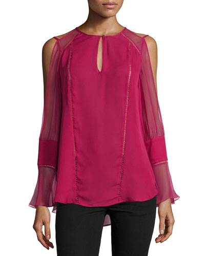 The Bessie Silk Cold-Shoulder Top, Sangria