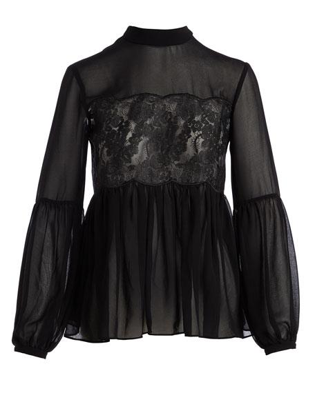 Sundream Long-Sleeve Lace-Inset Blouse, Black