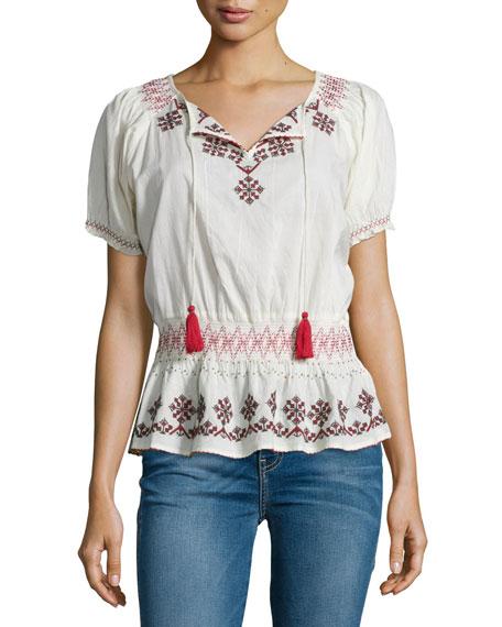 Tularosa Winona Short-Sleeve Embroidered Top, Ivory