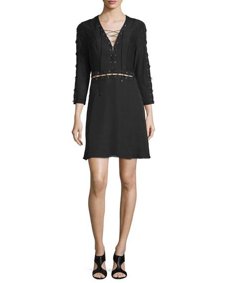 Haute Hippie Laced 3/4-Sleeve Silk Mini Dress, Black