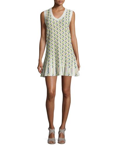 Sleeveless Geometric Jacquard Flounce Dress