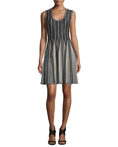 Striped Sleeveless Fit-&-Flare Dress, Black/White