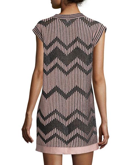 Cap-Sleeve Mesh Lurex® Mini Dress, Blush