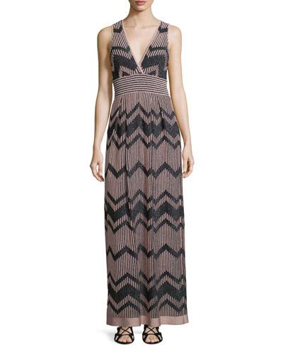 Bicolor Zigzag Sleeveless Maxi Dress, Blush