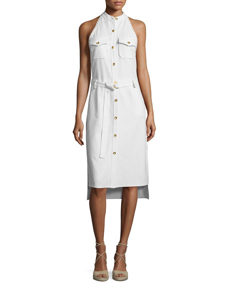 Foundrae Sleeveless Studded Metallic Silk Shirtdress, Cream