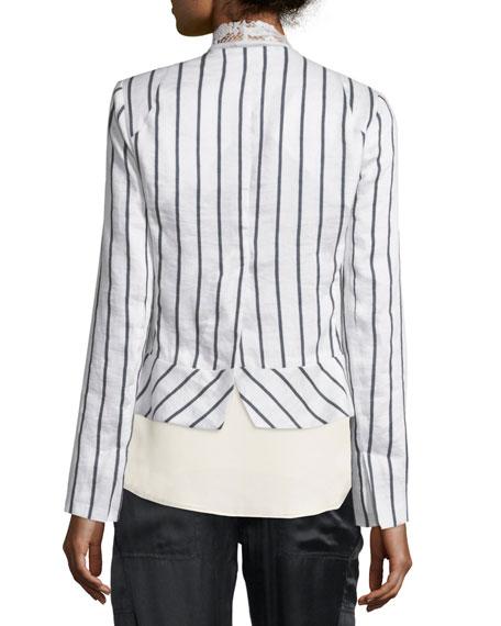 Striped Linen-Blend Jacket w/ Lace Vest, White