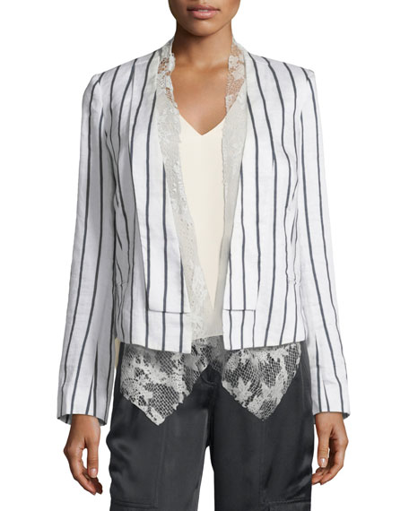 Foundrae Striped Linen-Blend Jacket w/ Lace Vest, White