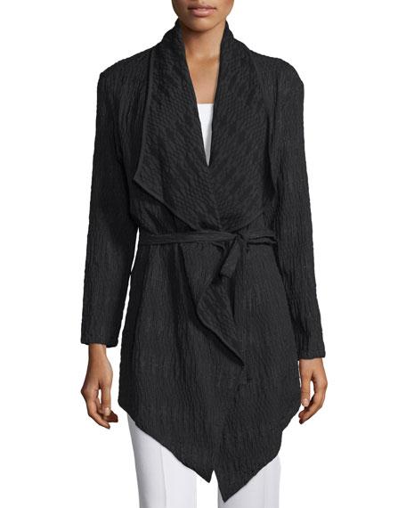 Natori Long-Sleeve Belted Cardigan, Black