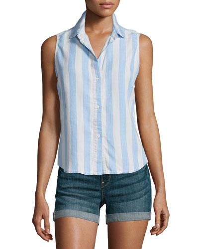 Mila Sleeveless Button-Front Shirt, Block Stripe