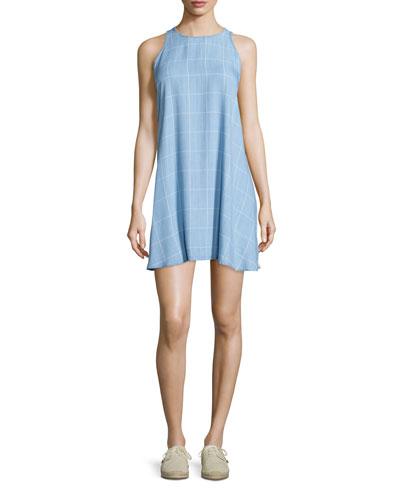 Anya Sleeveless A-Line Dress, Light Vintage Grid