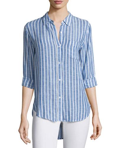 Charli Striped Long-Sleeve Shirt, Bluebell/White Stripe