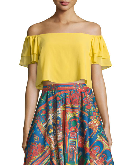 Alice + Olivia Whit Cropped Off-the-Shoulder Top, Yellow