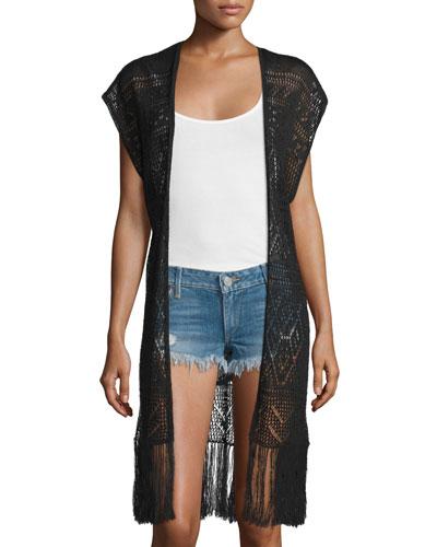 Dru Fringe Crochet Vest, Black