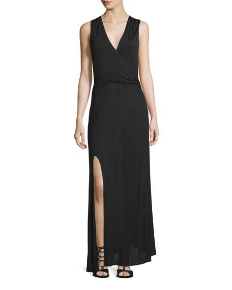 Haute Hippie Sleeveless Twist-Front Maxi Dress, Black