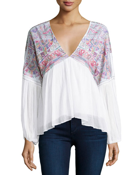Love Sam Rowan V-Neck Embroidered Top, Cloud/Multi