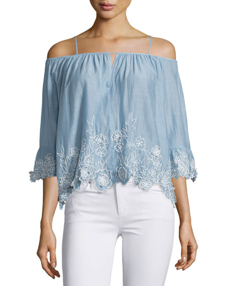 Camille Cold-Shoulder Embroidered Top, Chambray
