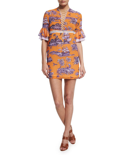 Short-Sleeve Pirate-Print Mini Dress, Orange