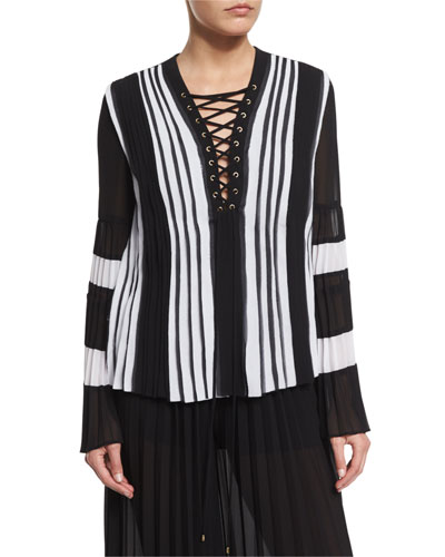 Long-Sleeve Pleated Lace-Up Blouse, Black/White