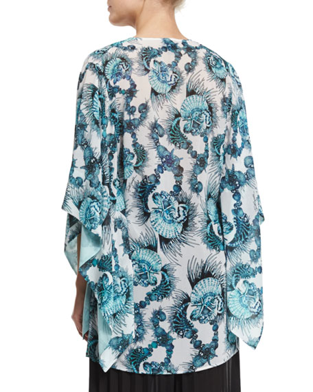 Onirica-Print Caftan-Style Blouse, White