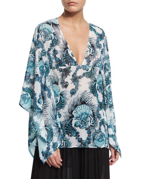 Just Cavalli Onirica-Print Caftan-Style Blouse & High-Waist