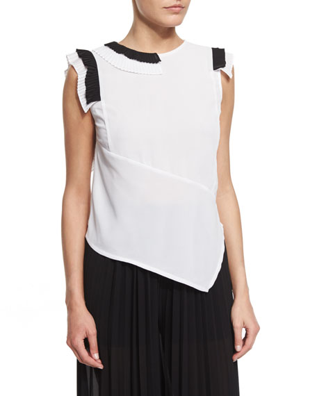Just Cavalli Sleeveless Asymmetric Two-Tone Blouse, White/Black