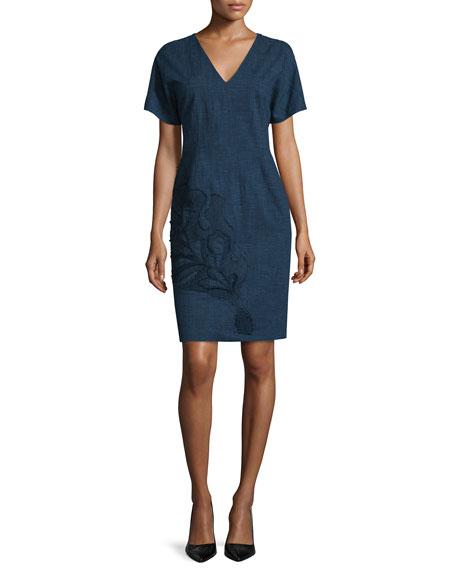 Josie Natori Short-Sleeve Embroidered Dress, Indigo