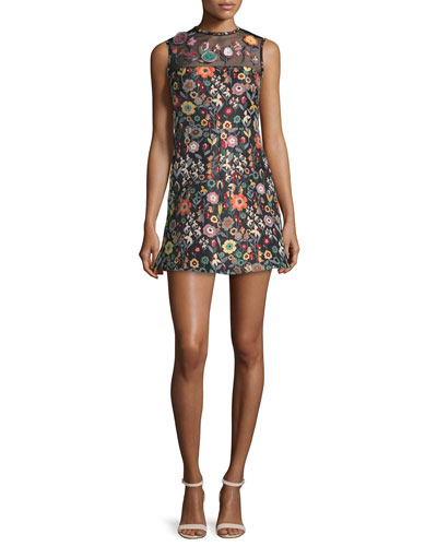 Sleeveless Jewel-Neck Floral Mini Dress, Black