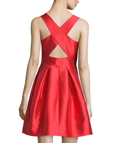 Sleeveless V-Neck Party Dress, Vermillion