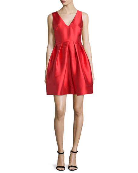 Sleeveless V-Neck Party Dress, Vermillion