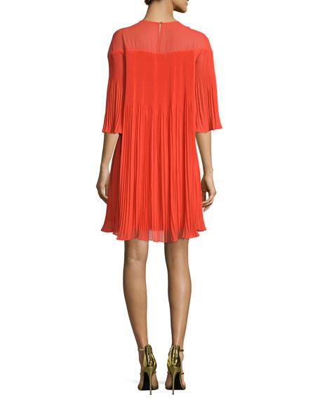 Savoy Half-Sleeve Pleated Cocktail Dress